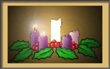 On the Advent wreath, the first candle is lit.