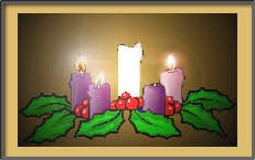 Picture of the first candle lit in the Advent wreath.