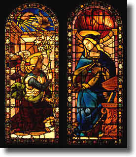 Stained-glass window showing Mary and the Angel Gabriel