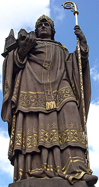 Statue of Anskar in bishop's robes, holding his staff in one hand and the Church in the other.