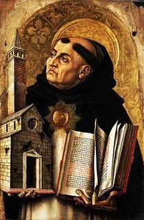 Painting of Thomas Aquinas holding the Church in one hand and the Scriptures in the other.