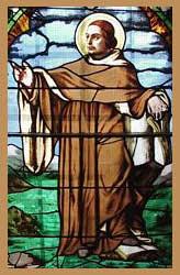 Stained glass window showing Bernard