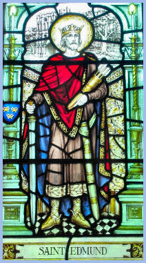 Stained glass picture of Edmund of East Anglia