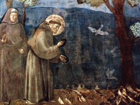 Painting of Saint Francis preaching to the birds