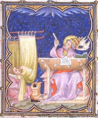 Painting of Gregory of Nyssa at his writing desk