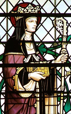 Stained glass window depicting Hilda of Whitby