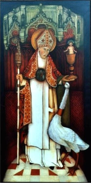 Hugh of Lincoln with his swan
