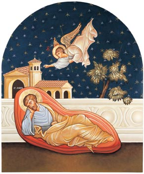 Painting of the angel speaking to St. Joseph in his dream.