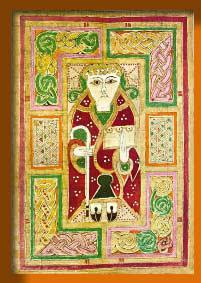 Tapestry showing Luke holding his Gospel