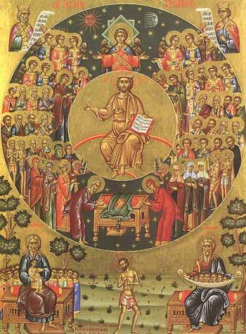 icon of the saints around Christ