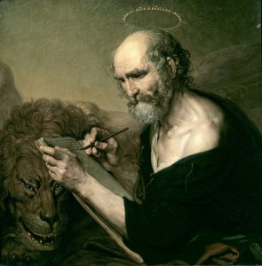 Painting of Mark the Evangelist with his symbol the lion