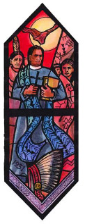 stained glass window showing David Oakerhater