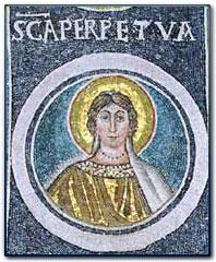 Moasic tile portrait of Perpetua.