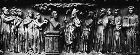 Bas-relief of the baptism of Remigius