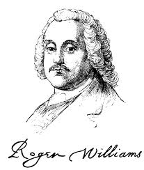 Drawing of Roger Williams with his signature.